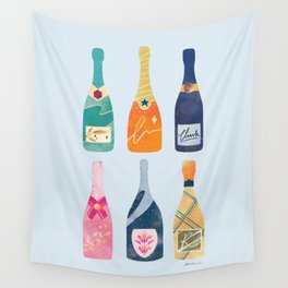 Champagne Bottles - Blue Ver. Wall Tapestry
