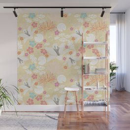 Yellow Japanese pond florals Wall Mural