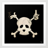 alcohol Art Prints featuring Cigarettes & Alcohol  by paddyroo