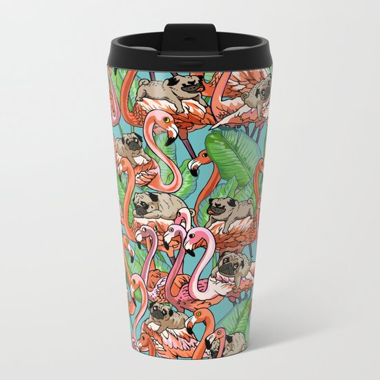Flamingo Party Metal Travel Mug