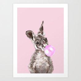 Bubble Gum Baby Kangaroo Art Print