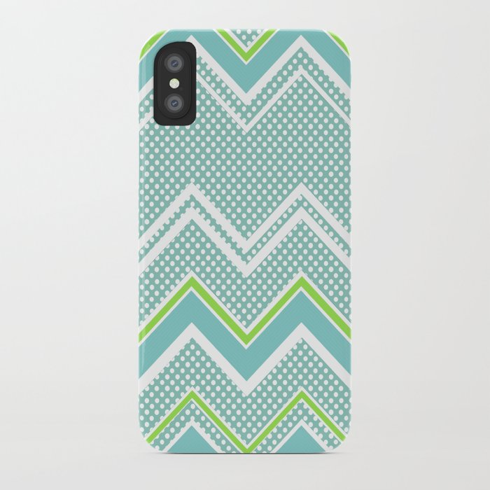 Ric-Rac-Dotty Blue And Lime iPhone Case