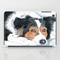 border collie iPad Cases featuring Border Collie Mattie by Yvonne Carter