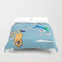 finn and jake Duvet Covers featuring Finn and Jake Adventure in the Sky by Twisted Dredz