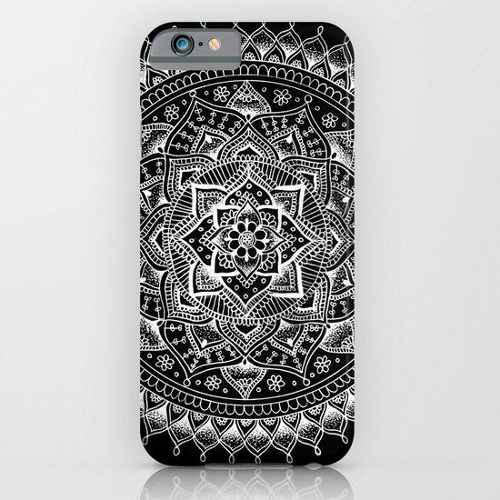 White Flower Mandala on Black iPhone & iPod Case