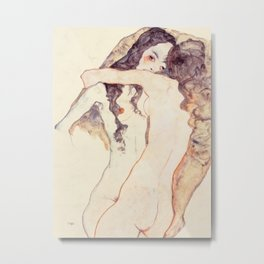 Egon Schiele Two Women Embracing Metal Print