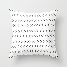 linocut Mudcloth grey and white minimal modern chevron arrows pattern gifts dorm college decor Throw Pillow