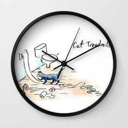 Comic Cat Treadmill Wall Clock