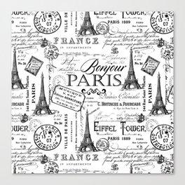 Vintage Paris Black And White Nostalgic Pattern Canvas Print