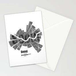 Seoul Map Stationery Cards