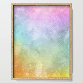 Beautiful watercolor background space with splatters Colorful smoke Serving Tray