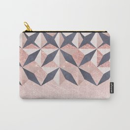 Trendy coral gray faux gold glitter geometrical pattern Carry-All Pouch