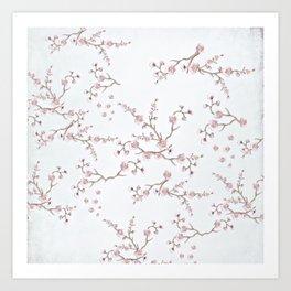 SAKURA LOVE - GRUNGE WHITE Art Print