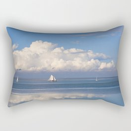 The Waddensee in Holland - Romantic View with White Clouds, Blue Sky and Boats Rectangular Pillow