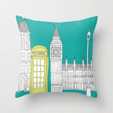 London - City prints // Red Telephone Box Throw Pillow