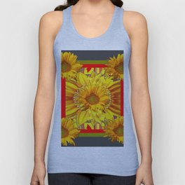 RED GREY COLOR YELLOW SUNFLOWERS  MODERN ABSTRACT Unisex Tank Top