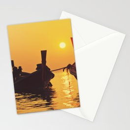 Longtail Thai boats @ sunset Stationery Cards