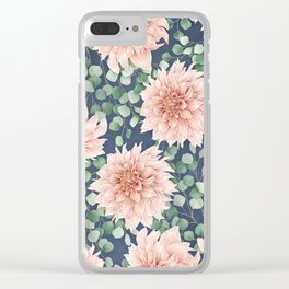 Dahlias & Silver dollars pattern Clear iPhone Case