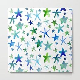 Watercolor Starfish Pattern Metal Print