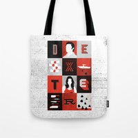 dexter Tote Bags featuring Dexter by Bill Pyle