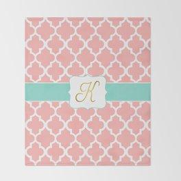 "Pink Quatrefoil with ""K"" Monogram Throw Blanket"