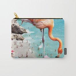 Flamingos on the Beach, Wildlife Surrealism Birds, Nature Flamingo Fantasy Beach Summer Photography Carry-All Pouch