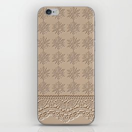 Lace and Stars in Coffee Color Chenille Pattern iPhone Skin