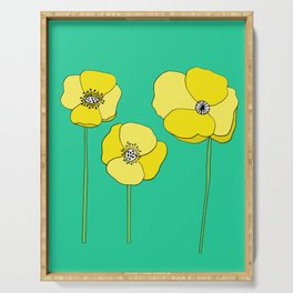 Bright Yellow and Mint Green Poppies Growing and Thriving Serving Tray