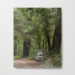 Van Life in the Woods, Van Photography, Forest Photography, Nature, Off the Grid Decor Metal Print