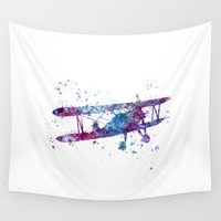 plane Wall Tapestries featuring Little Plane by Watercolorist