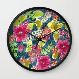 Fall Chintz Wall Clock