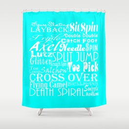 Turquoise Figure Skating Subway Style Typographic Design Shower Curtain