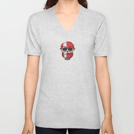 Baby Owl with Glasses and Danish Flag Unisex V-Neck