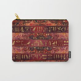Egyptian hieroglyphs gold on red painted texture Carry-All Pouch