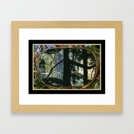 HEMLOCK DANCING WITH MADRONA MOUNTAIN LAKE ORCAS ISLAND Framed Art Print