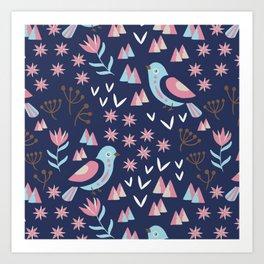Mountain BlueBirds Art Print