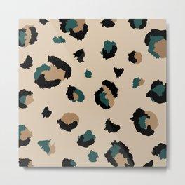 Leopard Print and Teal- Light Tan Metal Print
