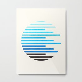 mid century modern minimalist circle round photo cerulean blue staggered stripe pattern Metal Print