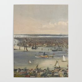 Vintage Pictorial Map of New York City (1848) Poster