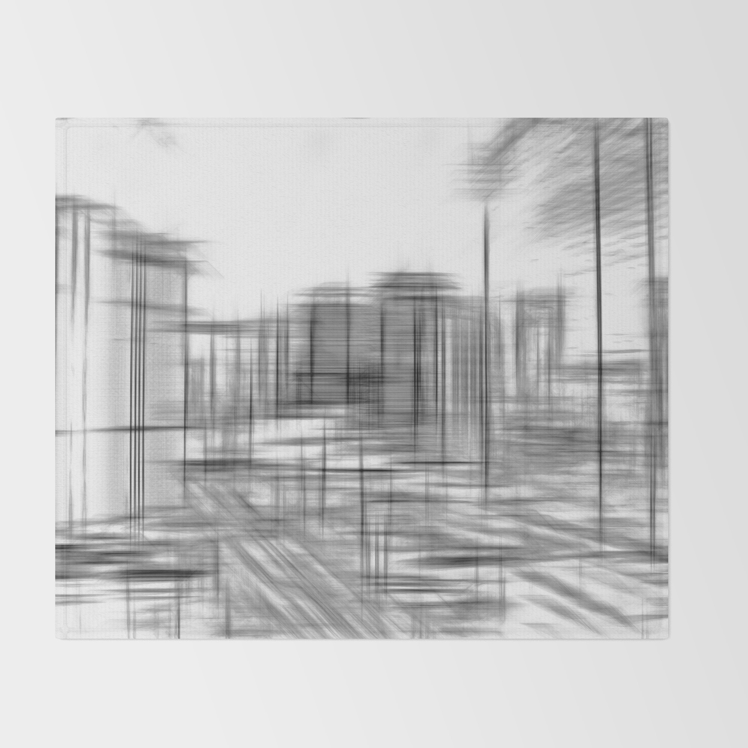 Pencil drawing buildings in the city in black and white throw blanket