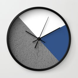 CONCRETE SERIES Classic blue trichromatic geometric collage Wall Clock
