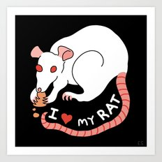 I Love My Rat Art Print