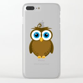 Wide Eyed Brown Owl Clear iPhone Case