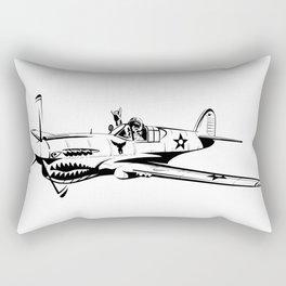 P-40 Curtiss Wright Warhawk Rock On WWII Shark Airplane Pilot Rectangular Pillow