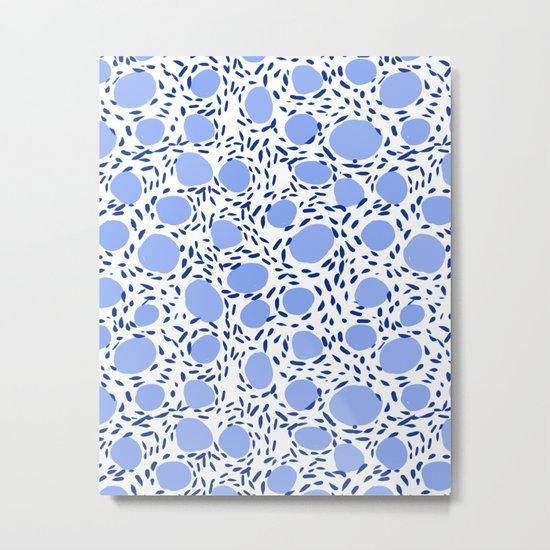 Pebbles cute pattern gender neutral dorm college abstract design minimal modern blue nature art Metal Print