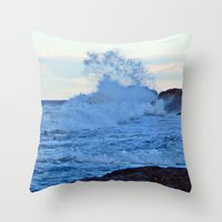 geology Throw Pillows featuring Exploding Surf  by DanByTheSea