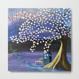 Tardis Art Alone And The Tree Blossom Metal Print