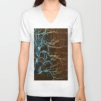 batik V-neck T-shirts featuring Batik Tree by Deb MacNeil