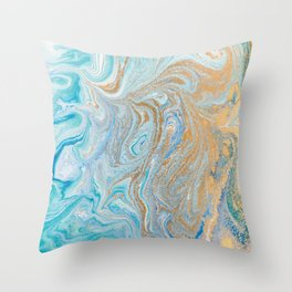 Marble turquoise gold silver Throw Pillow