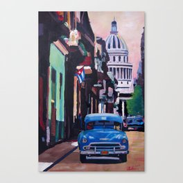 Cuban Oldtimer Street Scene in Havanna Cuba with Buena Vista Feeling Canvas Print